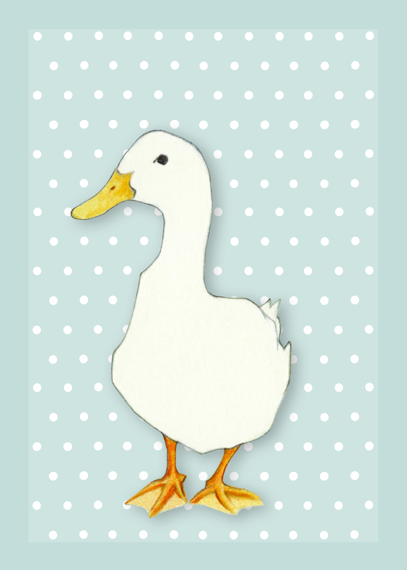 White Duck on Blue by Mariana:  Floating Lemons Art