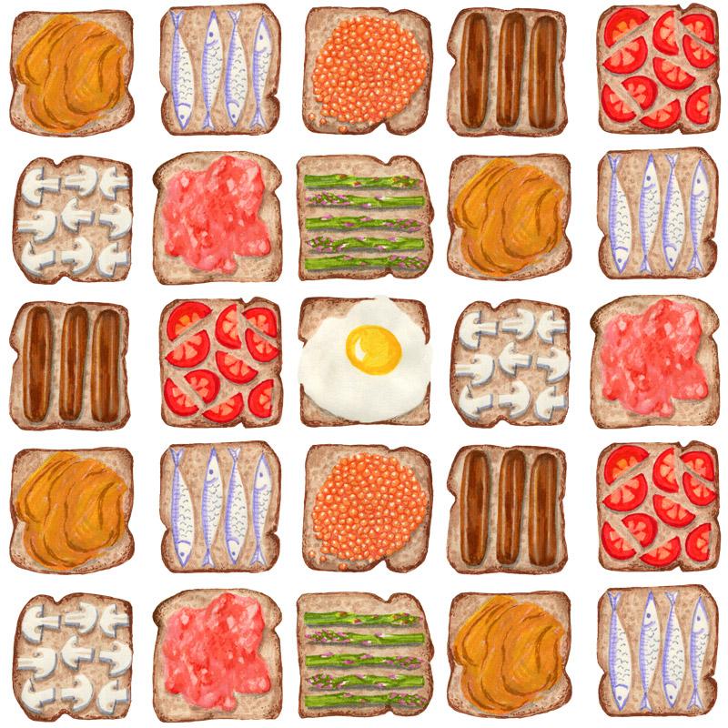 Breakfast Toast by  Floating Lemons Art