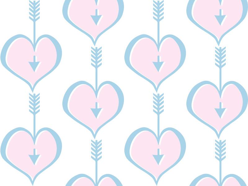 Hearts Pink Blue by  Floating Lemons Art