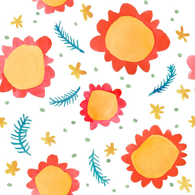 Painted Flowers Orange by  Floating Lemons Art