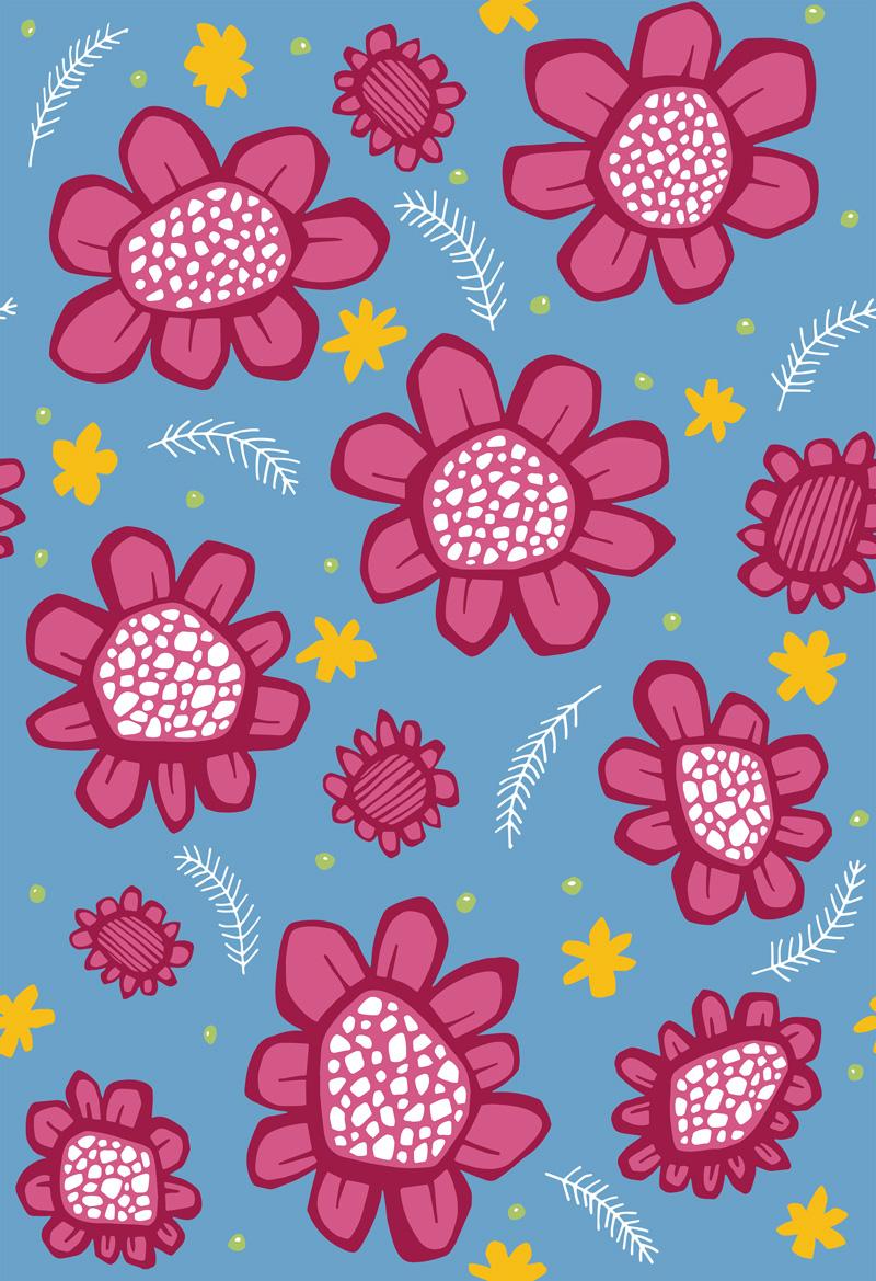Pop Flowers Pink by  Floating Lemons Art