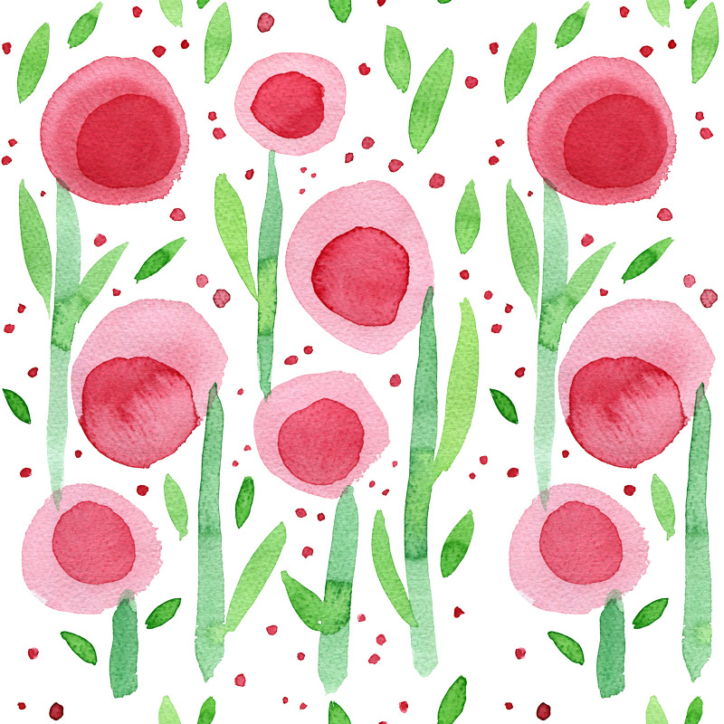 Round Red Flowers by  Floating Lemons Art