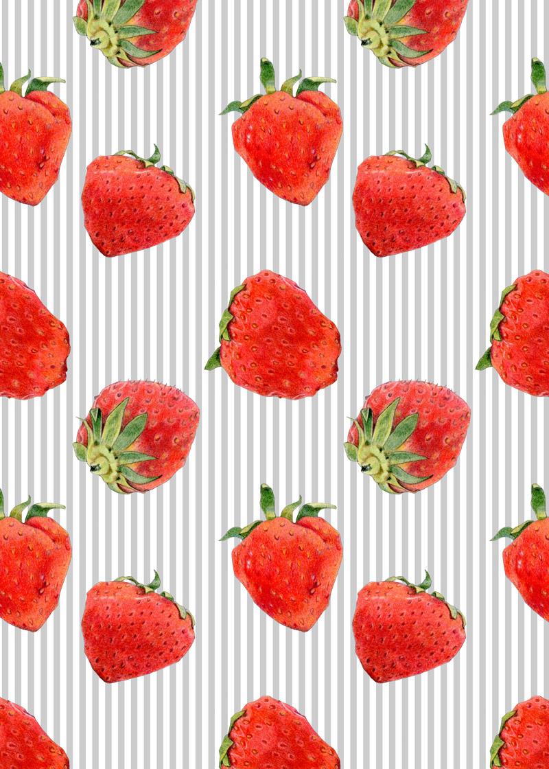 Strawberries on Grey Stripes by  Floating Lemons Art