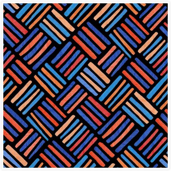 Striped Boxes Blue Orange by  Floating Lemons Art