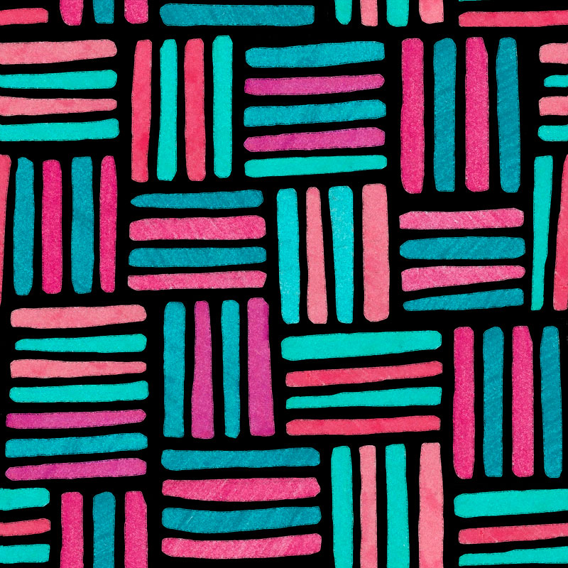 Striped Boxes Coral Aquamarine by  Floating Lemons Art
