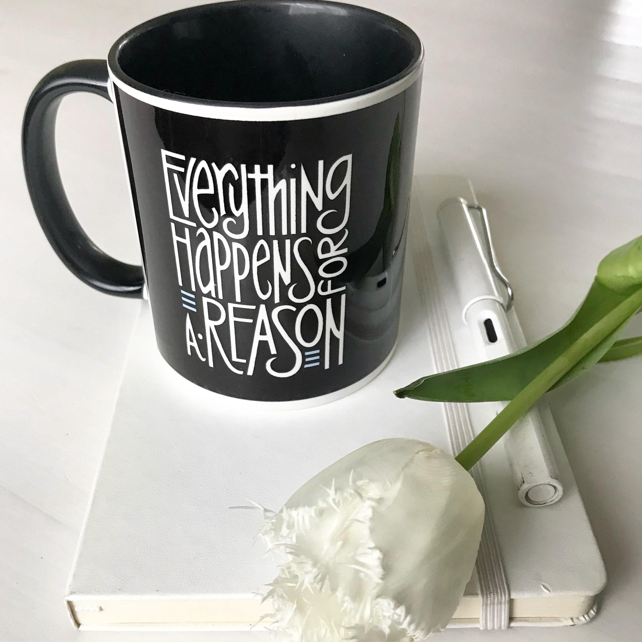 Everything Happens black mug by  Floating Lemons Art :  USA  and  UK