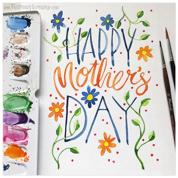 Mother's Day Blue Orange Flowers by  Floating Lemons Art