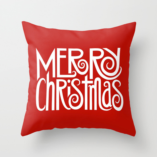 Merry Christmas Text White Throw Pillow by Floating Lemons Art