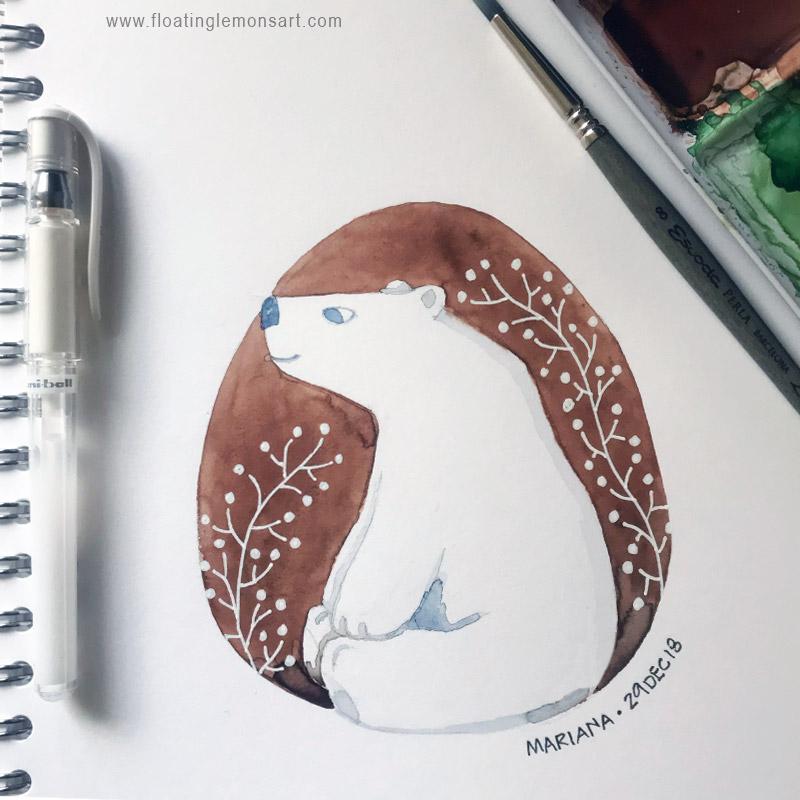 Circle Bear by Mariana: Floating Lemons Art