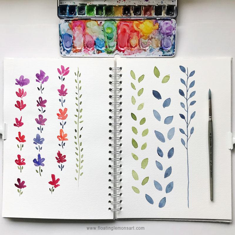 Flower and Leaf Doodles by Mariana :  www.floatinglemonsart.com