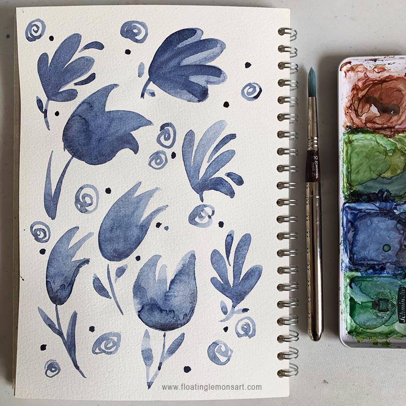 Indigo Flower Doodles by Mariana: Floating Lemons Art