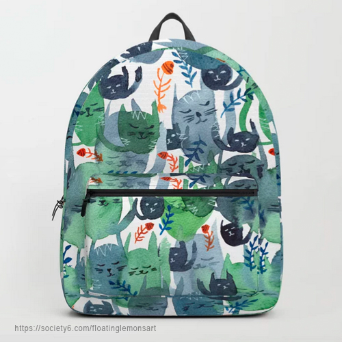A Quiet Cacophony of Cats Backpack by Floating Lemons Art
