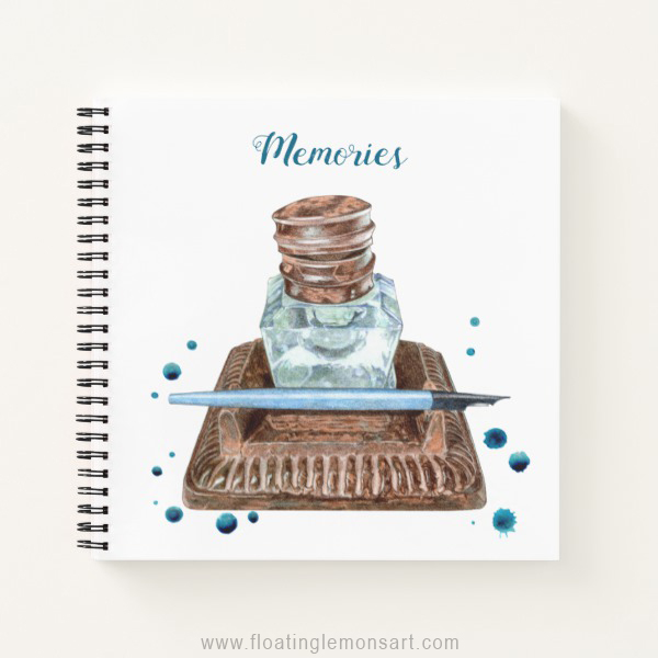 Antique Inkwell Spiral Notebook: Floating Lemons Art for Zazzle  USA  and  UK