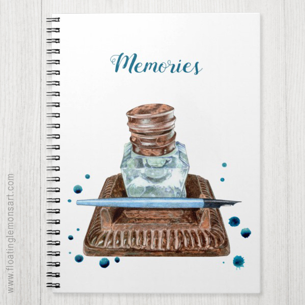 Antique Inkwell Spiral Photo Notebook: Floating Lemons Art for Zazzle  USA  and  UK