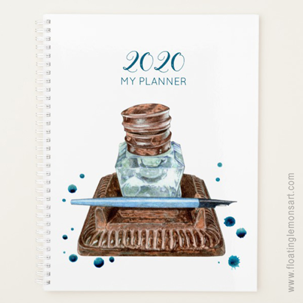 Antique Inkwell Any Year Personal Planner: Floating Lemons Art for Zazzle  USA  and  UK