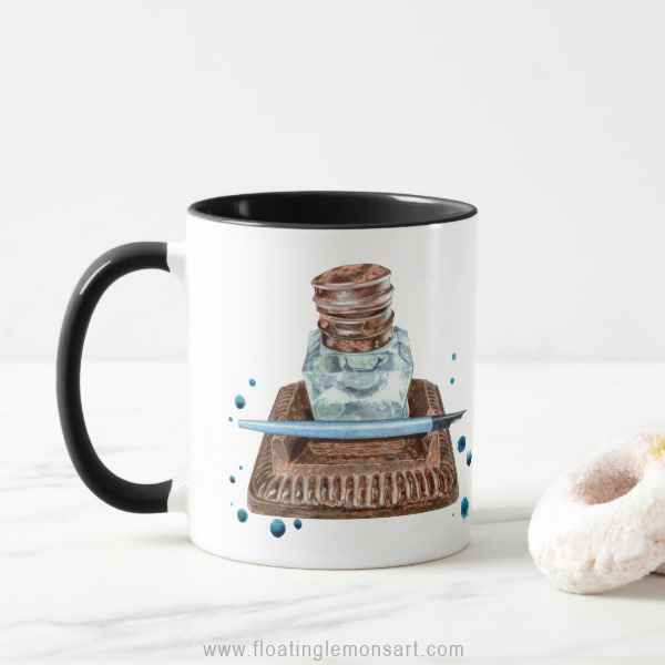 Antique Inkwell Mug: Floating Lemons Art for Zazzle  USA  and  UK