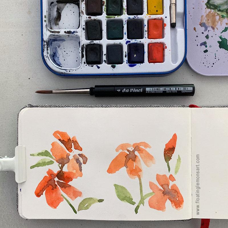 Orange Flower Doodles by Mariana: Floating Lemons Art