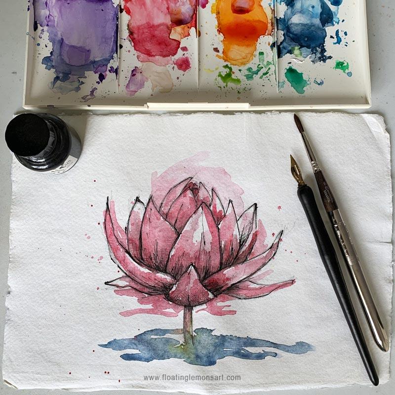 Inky Lotus by Mariana:  Floating Lemons Art