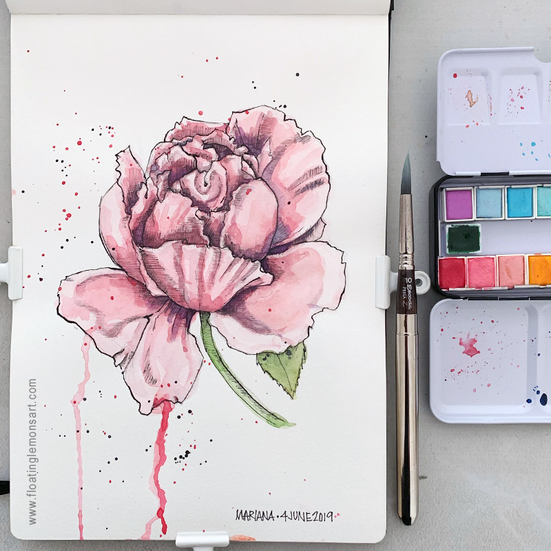 Inky Rose by Mariana:  Floating Lemons Art