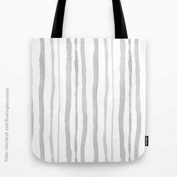 Grey Watercolour Stripes Tote Bag by Floating Lemons Art