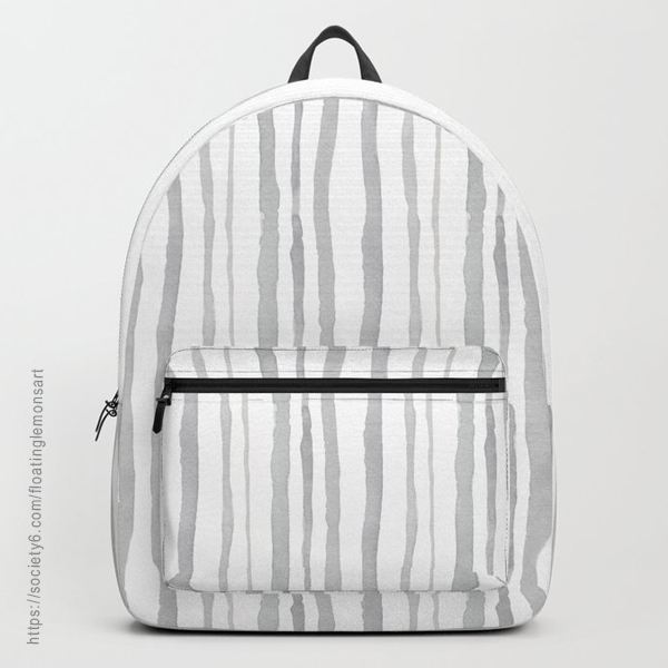 Grey Watercolour Stripes Backpack by Floating Lemons Art