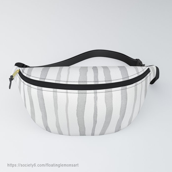 Grey Watercolour Stripes Fanny Pack by Floating Lemons Art
