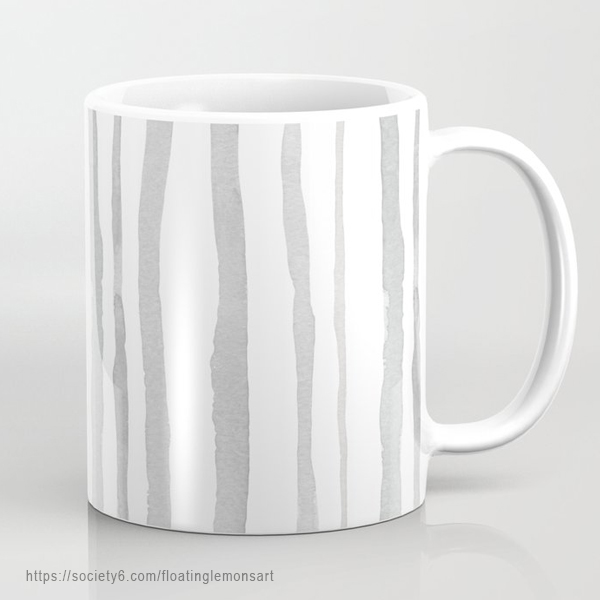 Grey Watercolour Stripes Mug by Floating Lemons Art