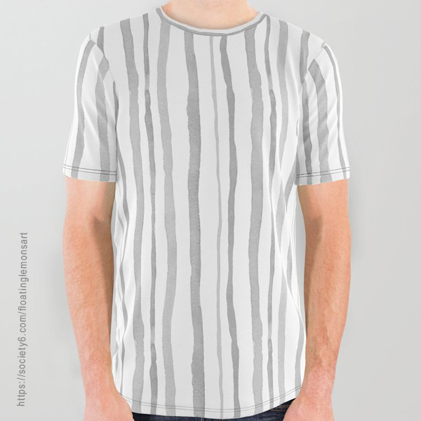 Grey Watercolour Stripes Unisex All Over Graphic Tee by Floating Lemons Art