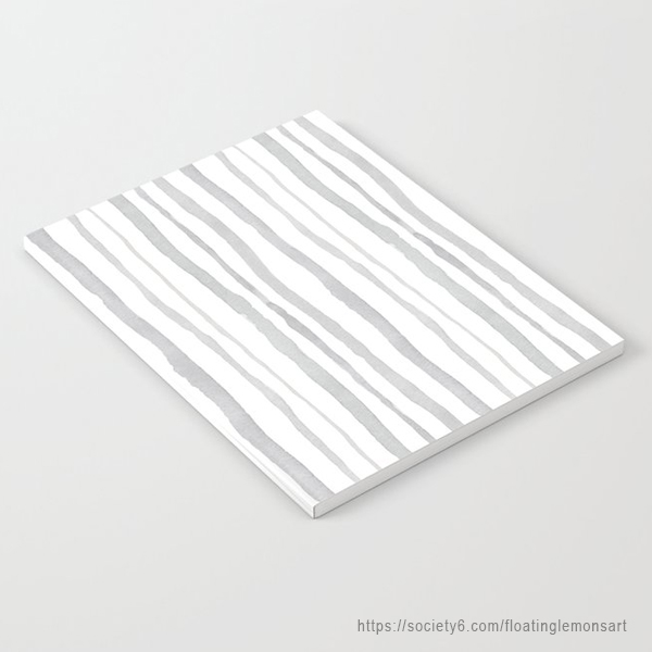 Grey Watercolour Stripes Notebook by Floating Lemons Art