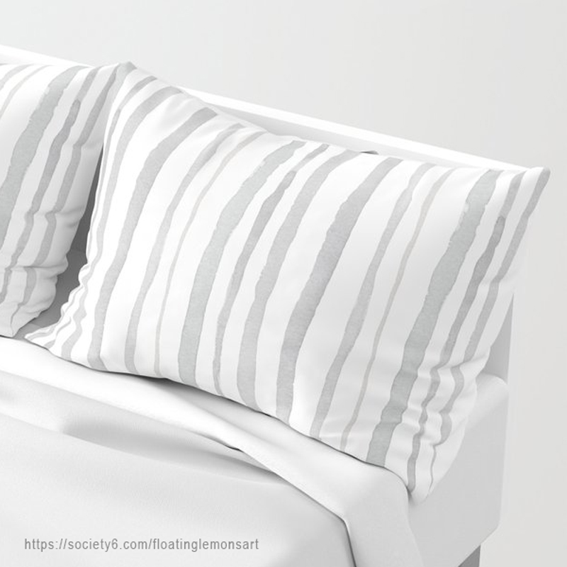 Grey Watercolour Stripes Pillow Sham by Floating Lemons Art