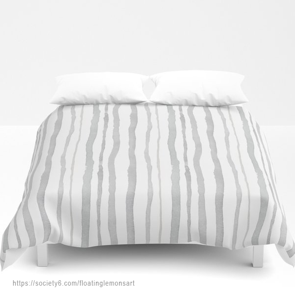 Grey Watercolour Stripes Duvet Cover by Floating Lemons Art