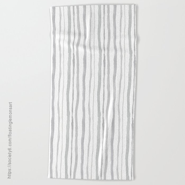 Grey Watercolour Stripes Beach Towel by Floating Lemons Art