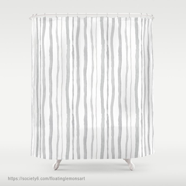 Grey Watercolour Stripes Shower Curtain by Floating Lemons Art