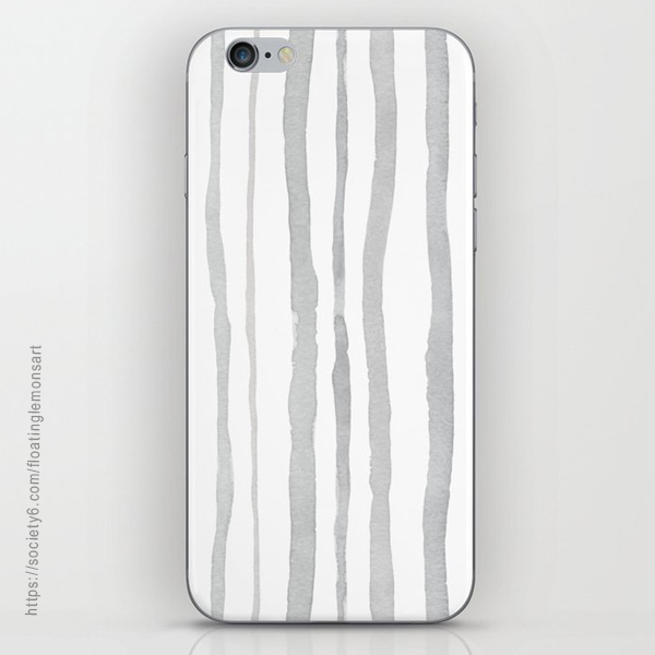 Grey Watercolour Stripes iPhone Skin by Floating Lemons Art