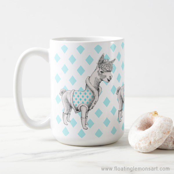 Alpaca Mug by Floating Lemons  Available internationally from:  USA  and  UK