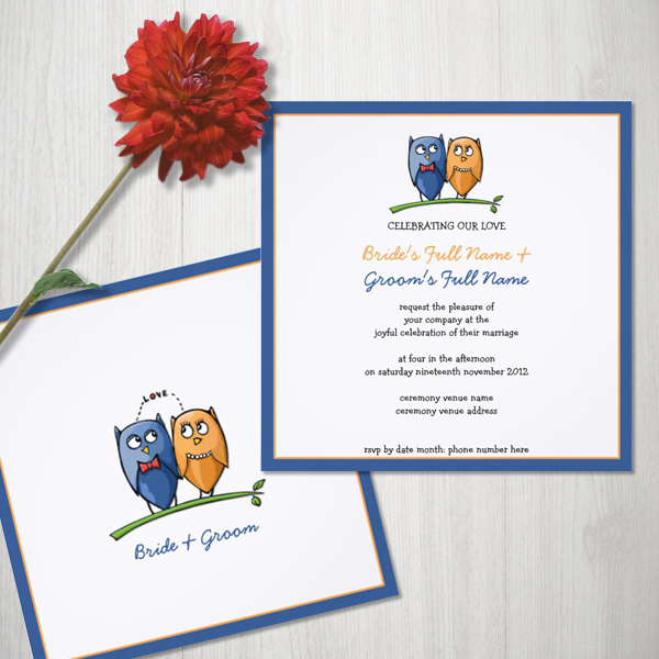 Customizable Owl Love framed Wedding Invitations by Floating Lemons  Available internationally at:  USA  and  UK