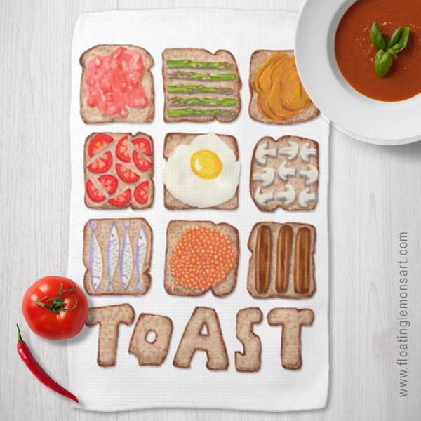 Breakfast Toast Kitchen Towels by Floating Lemons  Available internationally from:  USA  and  UK