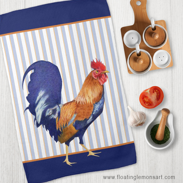 Rooster Tea Towels by Floating Lemons  Available internationally from:  USA  and  UK