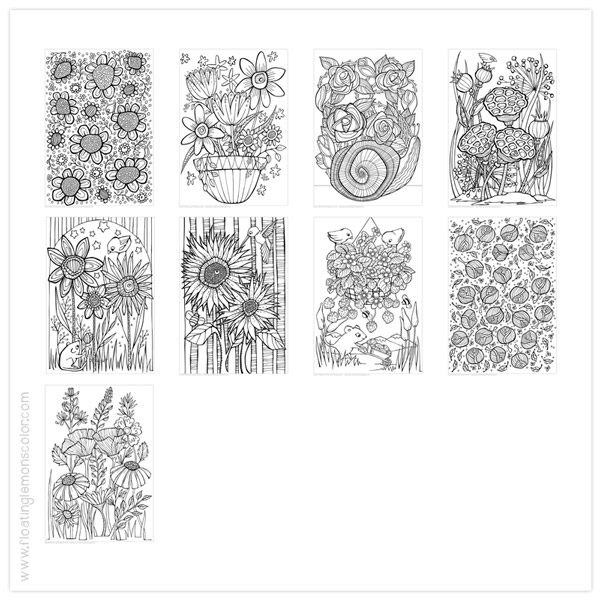 Quirky Botanical & Friends Colouring Book , a few sample pages: www.floatinglemonsart.com