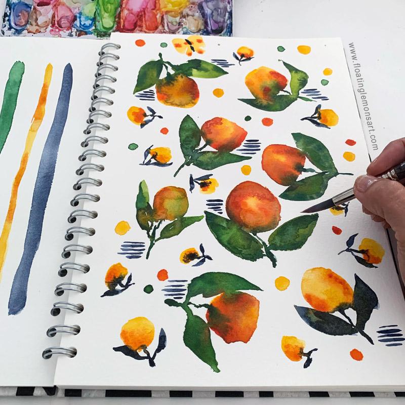 Orange Odd Botanicals by Mariana:  Floating Lemons Art