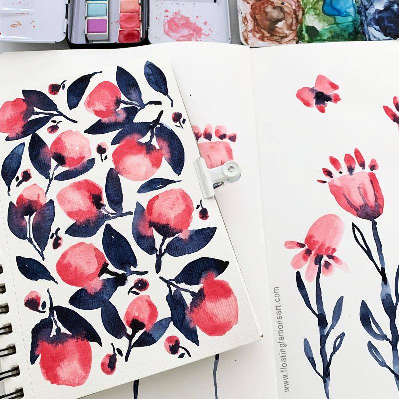 Pink Indigo Odd Botanicals by Mariana:  Floating Lemons Art