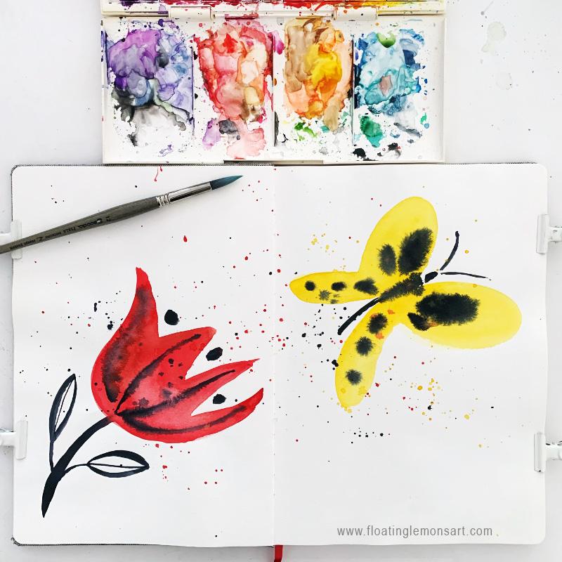 Red Flower Yellow Butterfly Joy by Mariana:  Floating Lemons Art