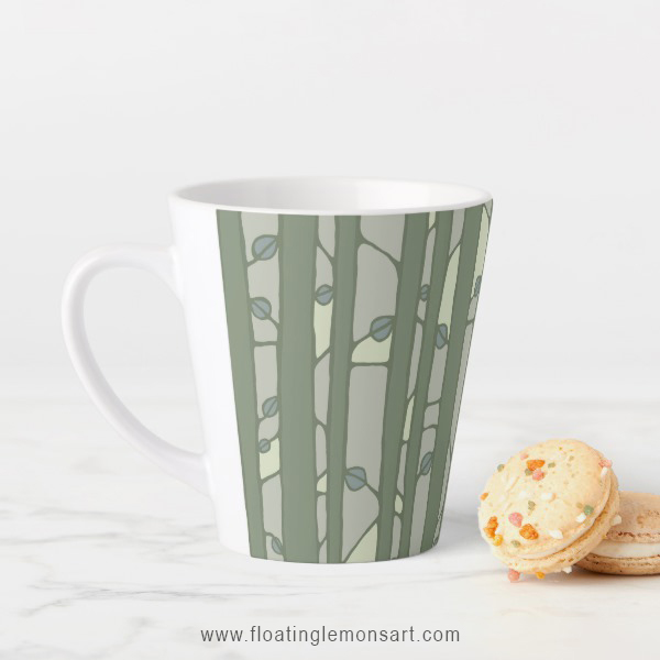 Into the Woods green Latte Mug by Floating Lemons:  USA  and  UK