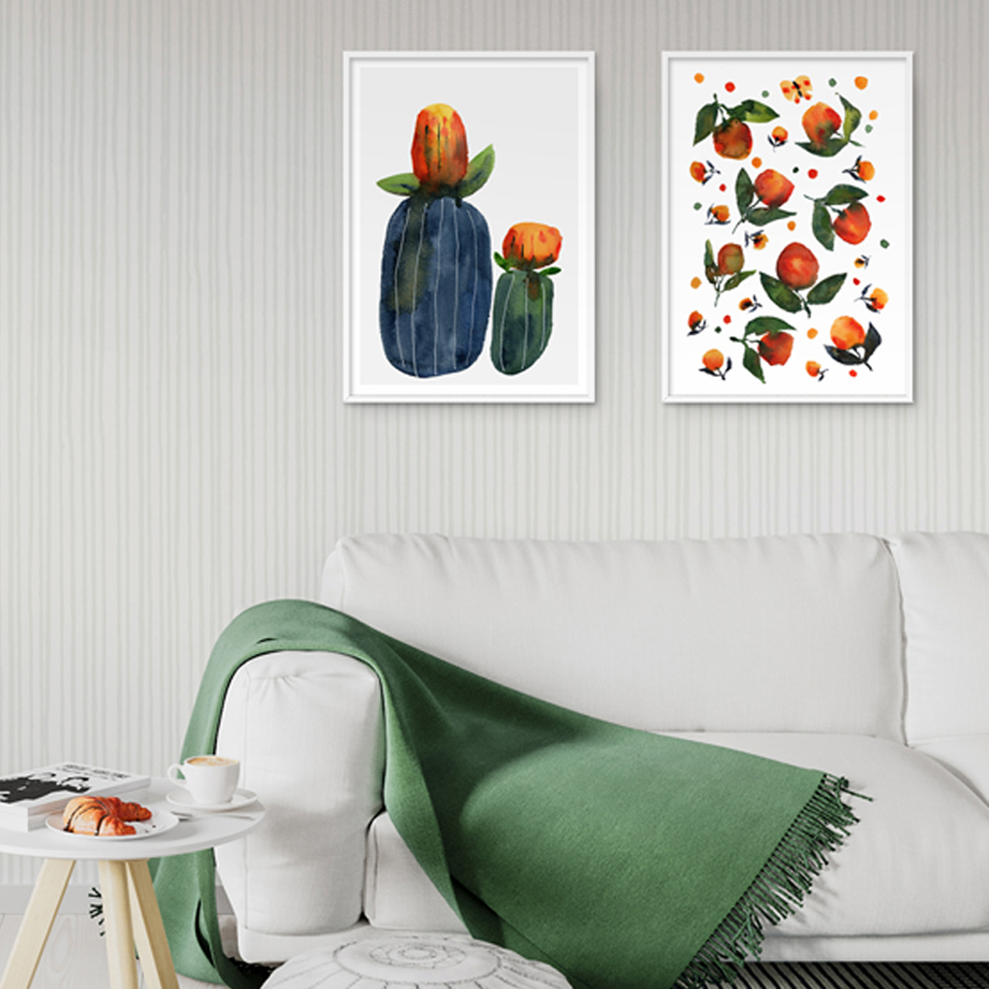 Odd Botanicals 1  and  Orange Green Watercolour Flowers  eco-friendly A3 art prints by  Mariana Black