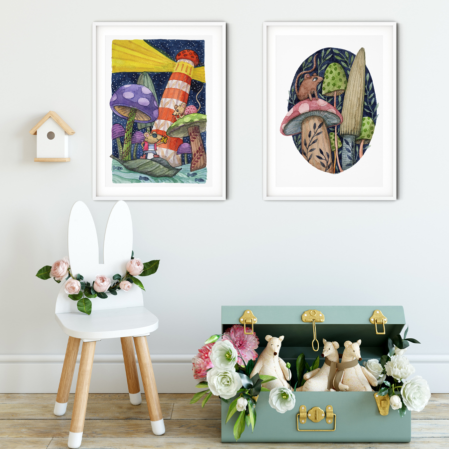 Mushrooms Mice Lighthouse  and  Mouse on Mushroom  eco-friendly A3 art prints by  Mariana Black