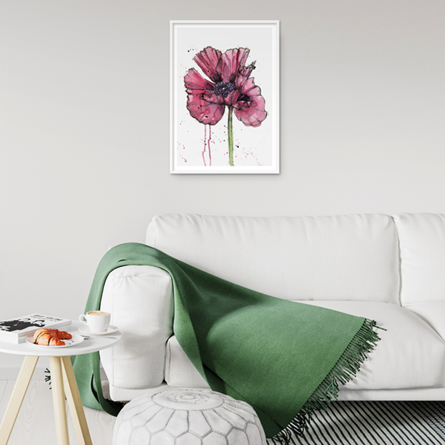 Inky Poppy  eco-friendly A3 art print by  Mariana Black