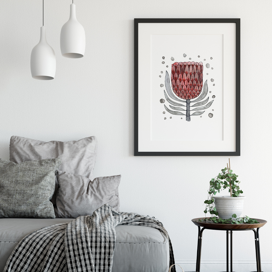 Ink Protea  eco-friendly A3 art print by  Mariana Black