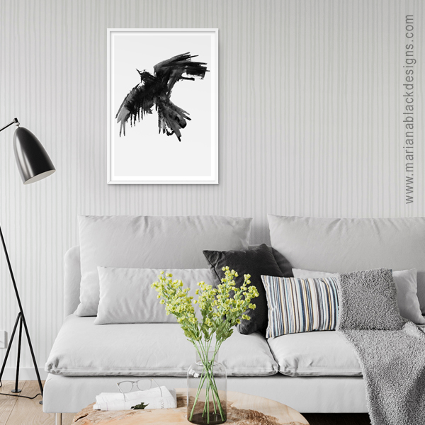 Raven Flight  eco-friendly A3 art print by  Mariana Black