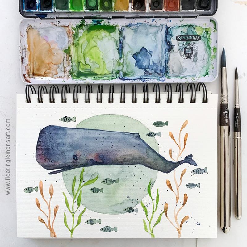 Sperm Whale watercolour illustration by Mariana:  Floating Lemons Art
