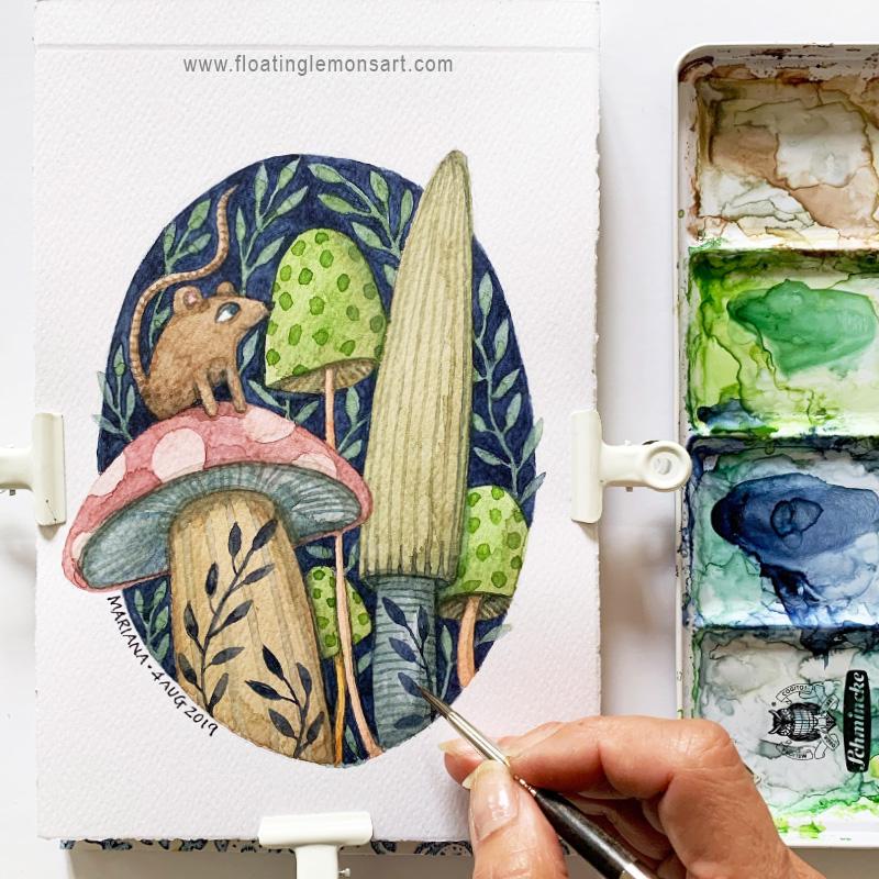 Mouse on Mushrooms watercolour illustration by Mariana:  Floating Lemons Art